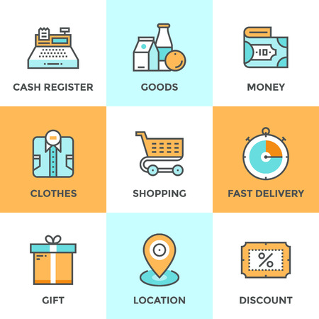 web store: Line icons set with flat design elements of shopping symbol, discount for products,  shop elements and commerce items, market objects and store products. Modern vector pictogram collection concept.