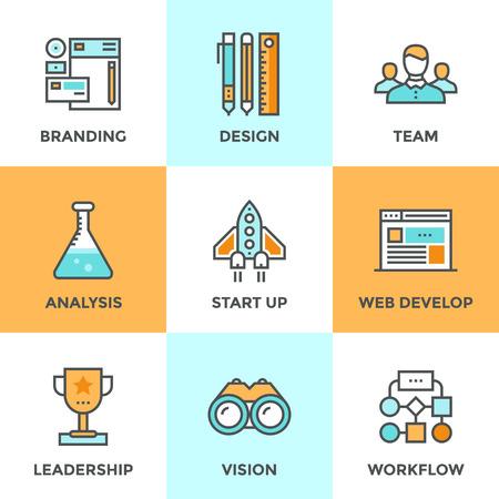 조직: 새로운 제품, 기관의 계획 및 워크 플로우, 시장 분석, 비즈니스 프로세스 개발의 성공의 시작의 평면 디자인 요소와 설정 라인 아이콘. 현대 벡터 픽토 일러스트