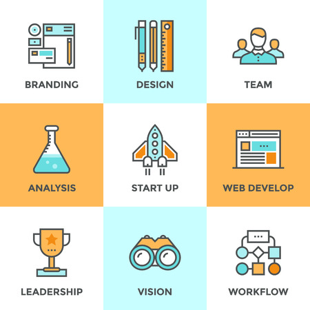 vision: Line icons set with flat design elements of success startup of new product, agency planning and workflow, market analysis, business process development. Modern vector pictogram collection concept.