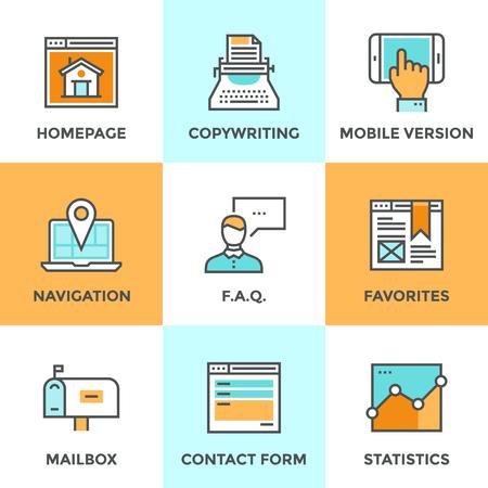 iletişim: Çizgi simgeleri web sitesi ana unsurları ve sayfa özellikleri, web sitesi, mobil sürümü, navigasyon pin, iletişim formu ve internet analitik düz tasarımı ile ayarlayın. Modern vektör piktogram toplama kavramı. Çizim