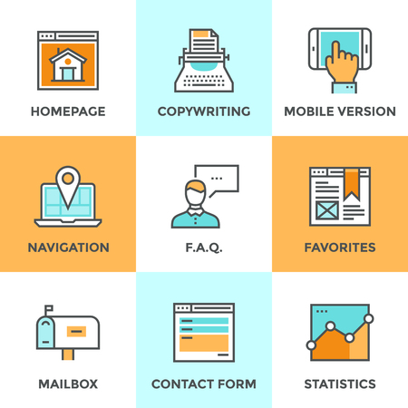 contacts: Line icons set with flat design of website main elements and page features, web site mobile version, navigation pin, contact form and internet analytics. Modern vector pictogram collection concept.