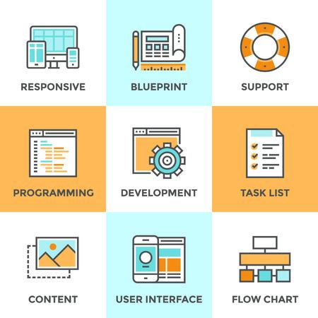 라인 아이콘 반응 웹 개발 서비스, 웹 사이트 프로그래밍 과정, 웹 페이지 코딩 및 사용자 인터페이스 만들기의 평면 디자인 요소로 설정합니다. 현대  일러스트