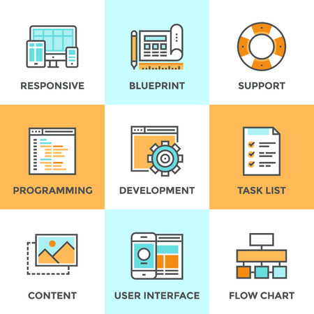 vector web design elements: Line icons set with flat design elements of responsive web development service, website programming process, webpage coding and user interface creating. Modern vector pictogram collection concept. Illustration