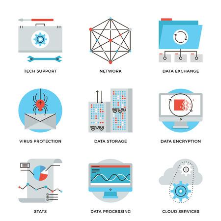 Dunne lijn iconen van big data-opslag bescherming, cloud computing-informatiedienst, technische ondersteuning, netwerk verbinding. Moderne vlakke lijn ontwerp element vector collectie logo afbeelding concept.