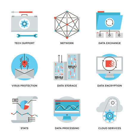 hosting: Thin line icons of big data storage protection, cloud computing information service, technical support, network connection. Modern flat line design element vector collection logo illustration concept.