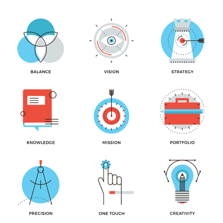 mision: Iconos delgada línea de proceso de diseño creativo, desarrollo de la agencia de estudio, visión de negocio, estrategia de marketing, la solución inteligente. Piso moderno diseño de la línea de elemento de colección de vectores logo concepto de ilustración.