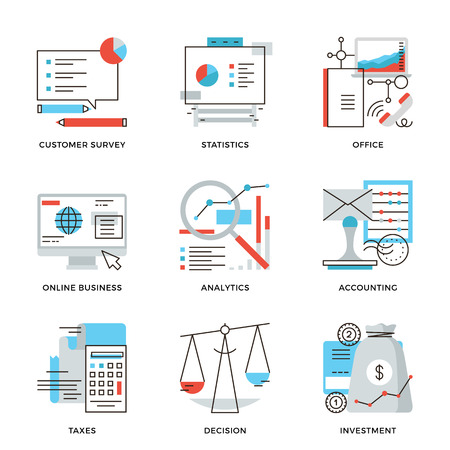 Thin line icons of business planning process, company accounting organization, customer survey, corporate taxes optimization. Modern flat line design element vector collection logo illustration concept. Çizim