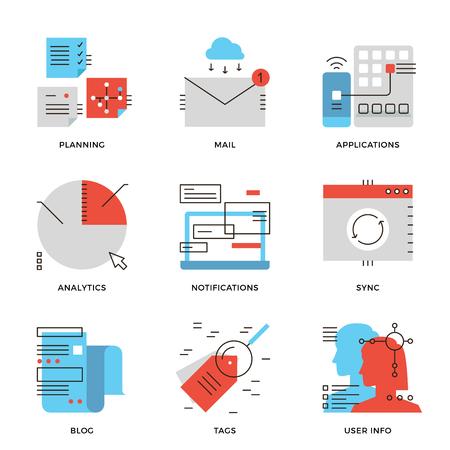 komunikace: Tenká čára ikony analytics obchodní data, lidé plánování workflow a komunikační řešení, mobilní aplikace Zpráva o aktualizaci. Moderní rovná čára designový prvek vektorové kolekce logo ilustrace koncept