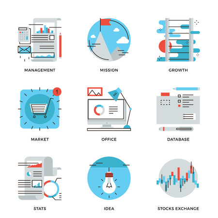 goal: Thin line icons of corporate business management, financial report and statistics, office organization, stock market data. Modern flat line design element vector collection logo illustration concept.