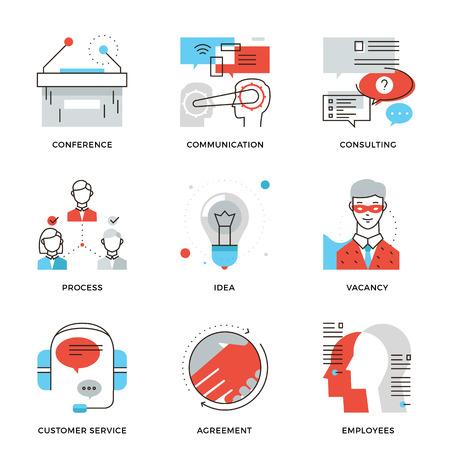細線商務會議,專業職業,公司諮詢,人們的溝通和交易協議的圖標。現代的扁線設計元素矢量集合的標誌插圖概念。