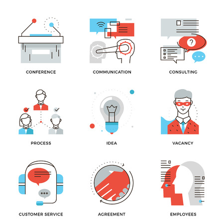 leadership: Thin line icons of business meeting, professional occupation, company consulting, people communication and deal agreement. Modern flat line design element vector collection logo illustration concept.
