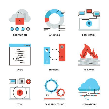 クラウドコンピューティング ネットワーク接続、大きなデータの転送、ファイアウォール保護、無線通信の細い線アイコン。近代的なフラット ライ  イラスト・ベクター素材
