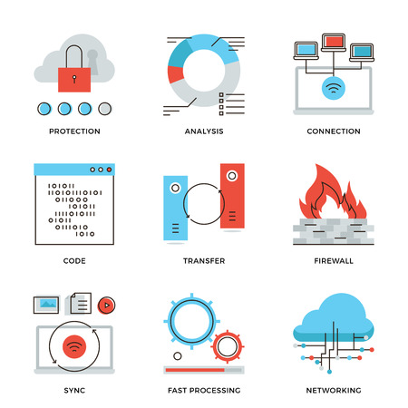 protección: Iconos delgada l�nea de conexi�n de la computaci�n en nube de la red, la transferencia de datos grande, protecci�n firewall, la comunicaci�n inal�mbrica. Piso moderno dise�o de la l�nea de elemento de colecci�n de vectores logo concepto de ilustraci�n.