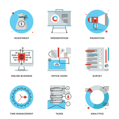 Thin line icons of corporate accounting, financial statistics, customer survey service, online business, time management. Modern flat line design element vector collection logo illustration concept. Vettoriali