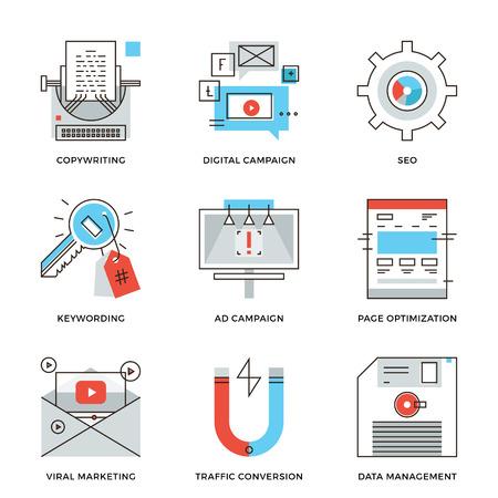 デジタル マーケティング キャンペーン、ビデオのバイラル広告、テキスト コピーライティング、SEO のウェブサイトの最適化の細い線アイコン。近