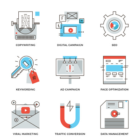 Thin line icons of digital marketing campaign, video viral advertising, text copywriting, website SEO optimization. Modern flat line design element vector collection logo illustration concept. Vettoriali