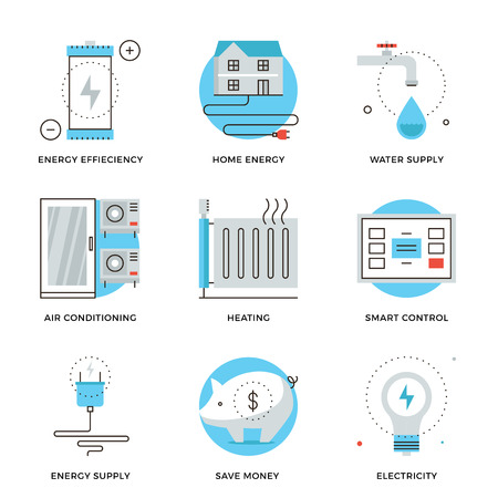 Dunne lijn iconen van internet van smart house technologie systeem, draadloze home control panel, energiebesparing en efficiëntie. Moderne vlakke lijn ontwerp element vector collectie logo afbeelding concept.