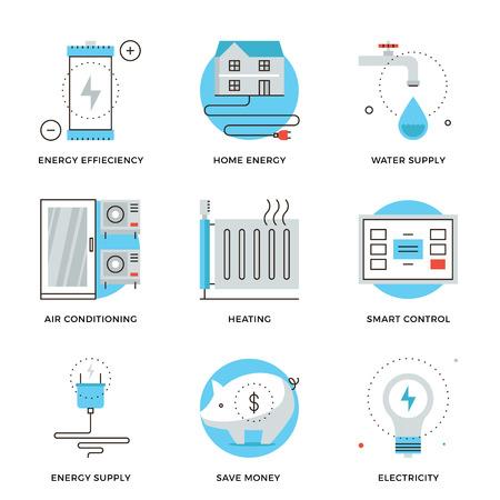 eficiencia: Iconos delgada línea de internet de sistema inteligente de tecnología propia, el panel de control del hogar, el ahorro de energía y la eficiencia. Piso moderno diseño de la línea de elemento de colección de vectores logo concepto de ilustración. Vectores