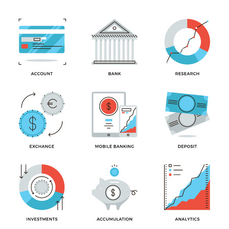 Dunne lijn iconen van de bankrekening, e-banking service, financiële analyses, vreemde valuta en geld beleggingsstrategie. Moderne vlakke lijn ontwerp element vector collectie logo afbeelding concept. Stock Illustratie
