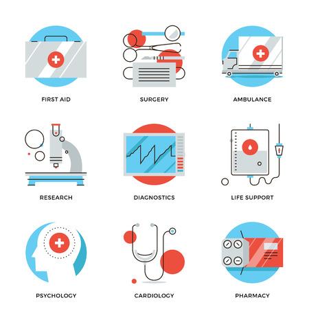 Iconos de líneas delgadas de los servicios médicos, equipos de diagnóstico, herramientas de cirugía, psicología y farmacología, de ambulancias para emergencias. Piso moderno diseño de la línea de elemento de colección de vectores logo concepto de ilustración.