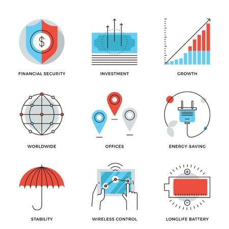 Dunne lijn iconen van de wereldwijde corporate business, geldgroei grafiek, financiële zekerheid, energiebesparing, stabiliteit bedrijf. Moderne vlakke lijn ontwerp element vector collectie logo afbeelding concept.