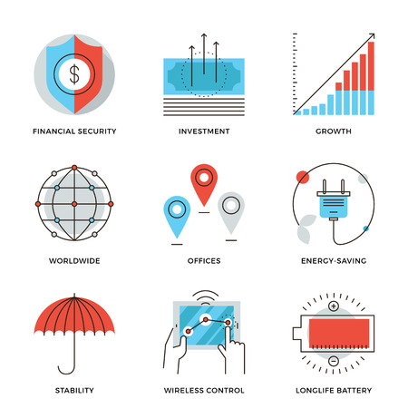 stability: Thin line icons of worldwide corporate business, money growth chart, financial security, energy savings, company stability. Modern flat line design element vector collection logo illustration concept.