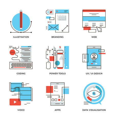 icons: Thin line icons of creative graphic design, branding identity, mobile apps develop, UI UX user interface, website coding. Modern flat line design element vector collection logo illustration concept.