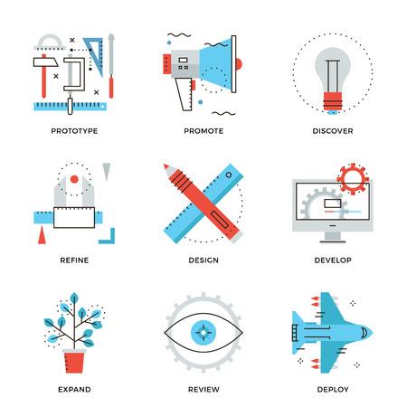 Iconos delgada línea de producción de diseño gráfico, servicios de desarrollo de productos web, ingeniería prototipo, promoción de marketing. Piso moderno diseño de la línea de elemento de colección de vectores logo concepto de ilustración. Logos