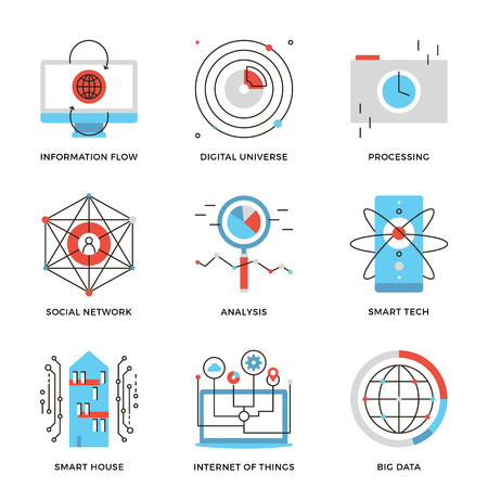 information management: Thin line icons of internet of things technologies, big datum analysis, smart tech and futuristic communication processing. Modern flat line design element vector collection logo illustration concept.