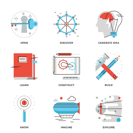researching: Thin line icons of conceptual vision, thinking out the box, innovation develop, business invention, discovery new things. Modern flat line design element vector collection logo illustration concept.