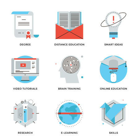 e learn: Thin line icons of online education, brain training games, internet tutorials, smart ideas, electronic learning process. Modern flat line design element vector collection logo illustration concept.