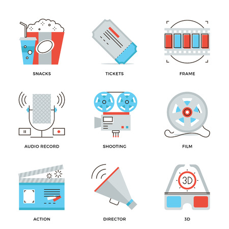 film projector: Thin line icons of cinema shooting, movie making, film production, leisure entertainment, 3D glasses television watching. Modern flat line design element vector collection logo illustration concept.