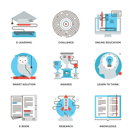 e learn: Thin line icons of e-learning graduation, online education, solving problem process, learn to think, power of knowledge. Modern flat line design element vector collection logo illustration concept. Illustration