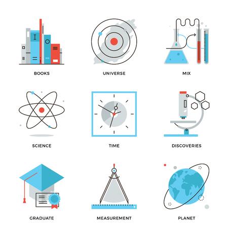 atomo: Iconos de l�neas finas de descubrimiento nuevo las cosas, el planeta y la investigaci�n universo, la ciencia y la experimentaci�n cient�fica, el conocimiento libros. Piso moderno dise�o de la l�nea de elemento de colecci�n de vectores logo concepto de ilustraci�n. Vectores