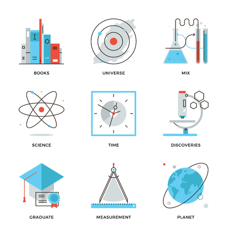 Thin line icons of discovery new things, planet and universe research, science and scientific experiment, books knowledge. Modern flat line design element vector collection logo illustration concept.