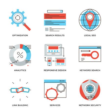 Ícones fina linha de pesquisa website Engine Optimization, SEO estatísticas de análise, segurança de rede, desenvolvimento de tráfego web. Modern design plano linha coleção elemento vector logo ilustração conceito.