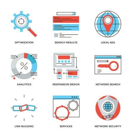 results: Thin line icons of website search engine optimization, seo analytics stats, network security, webpage traffic development. Modern flat line design element vector collection logo illustration concept.