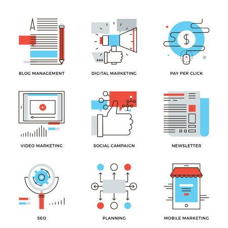 social commerce: Thin line icons of digital marketing, video advertising, social media campaign, newsletter promotion, website optimization. Modern flat line design element vector collection logo illustration concept.