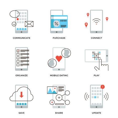 horarios: Iconos de l�neas finas de diversas aplicaciones de tel�fonos inteligentes que utilizan, citas m�vil, mensajer�a, pago con tarjeta de cr�dito inal�mbrica, actualizaci�n de software. Piso moderno dise�o de la l�nea de elemento de colecci�n de vectores logo concepto de ilustraci�n. Vectores