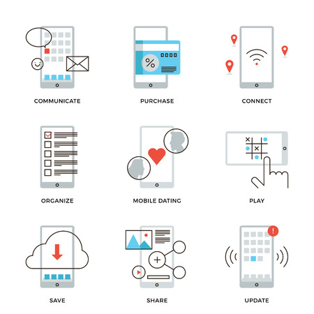 telephone line: Thin line icons of various smartphone apps using, mobile dating, messaging, wireless credit card payment, software update. Modern flat line design element vector collection logo illustration concept.