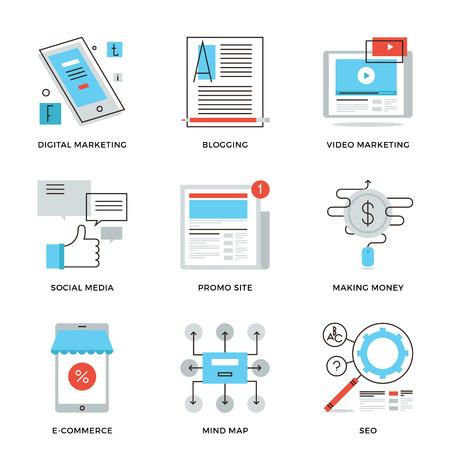 mercadotecnia: Iconos de líneas finas de social media marketing, desarrollo de la campaña digital, comercio electrónico móvil, video viral, el sitio web de blogs. Piso moderno diseño de la línea de elemento de colección de vectores logo concepto de ilustración.