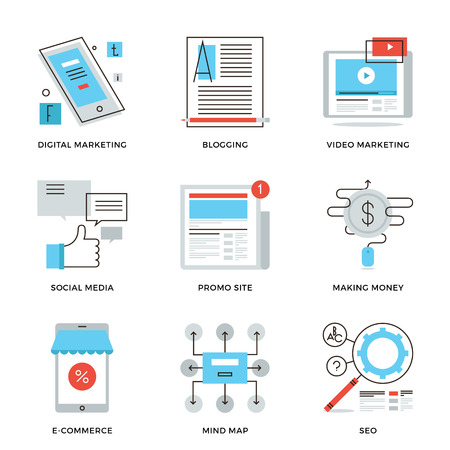 article marketing: Thin line icons of social media marketing, digital campaign development, mobile e-commerce, viral video, website blogging. Modern flat line design element vector collection logo illustration concept.