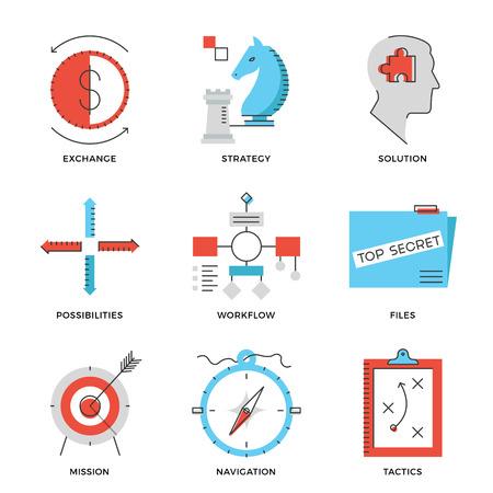 Dunne lijn iconen van het bedrijfsleven effectieve oplossing, succes tactiek positie en strategie beslissing, op lange termijn doelrealisatie. Moderne vlakke lijn ontwerp element vector collectie logo afbeelding concept.
