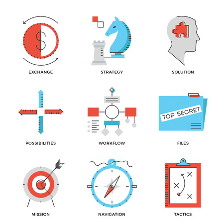 achieve goal: Thin line icons of business effective solution, success tactics position and strategy decision, long-term goal achievement. Modern flat line design element vector collection logo illustration concept.