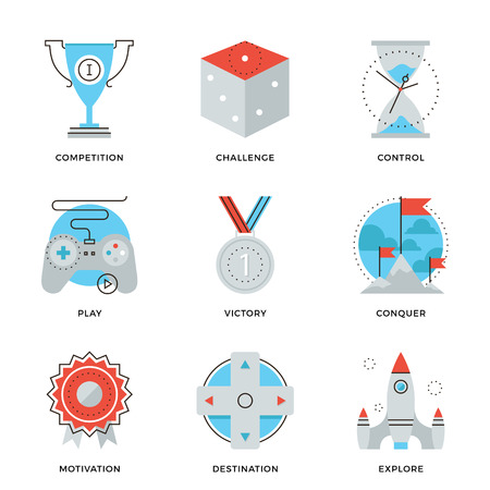 Iconos de líneas finas de solución ventaja competitiva, estrategia gamification negocio, mover el liderazgo, ganar ideas estratégicas. Piso moderno diseño de la línea de elemento de colección de vectores logo concepto de ilustración.