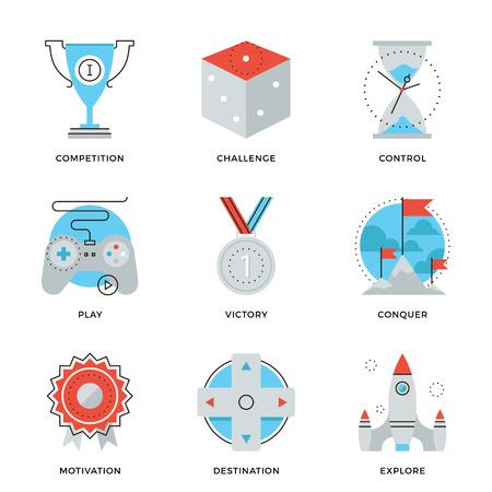 competencia: Iconos de l�neas finas de soluci�n ventaja competitiva, estrategia gamification negocio, mover el liderazgo, ganar ideas estrat�gicas. Piso moderno dise�o de la l�nea de elemento de colecci�n de vectores logo concepto de ilustraci�n.