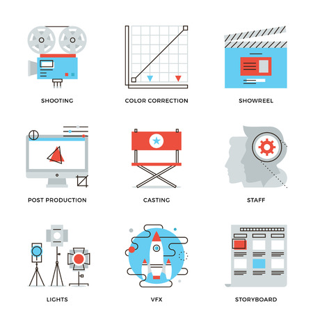 showreel: Thin line icons of video production process, professional movie postproduction, actors casting, storyboard writing. Modern flat line design element vector collection logo illustration concept.