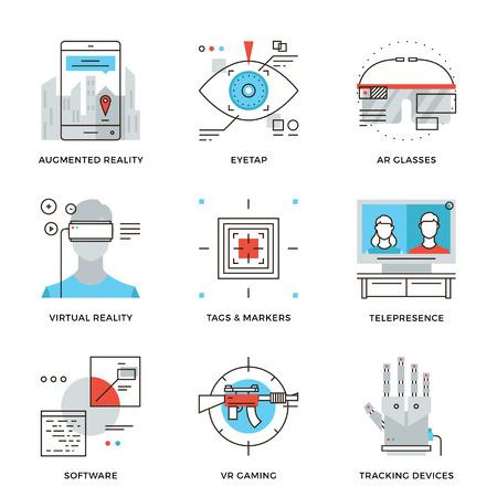 시뮬레이션: 가상 현실 혁신 기술, AR 안경, 헤드 마운트 디스플레이, 가상 현실 게임 및 추적 장치의 얇은 라인 아이콘. 현대 평면 라인 디자인 요소 벡터 컬렉션 로고 그림 개념