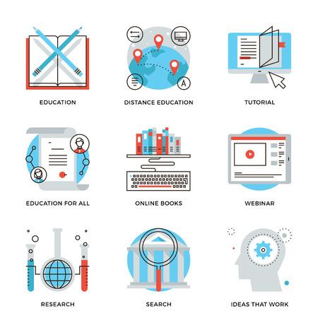 Iconos de líneas finas de forma global de la educación, el seminario en línea, video tutorial, certificado de especialista, saben cómo se desarrollan las ideas. Piso moderno diseño de la línea de elemento de colección de vectores logo concepto de ilustración.