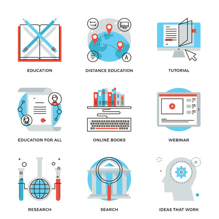 e learn: Thin line icons of global education form, online webinar, video tutorial, certificate of specialist, know how ideas develop. Modern flat line design element vector collection logo illustration concept.